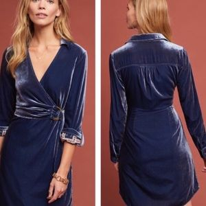 Anthropologie Maeve Blue Velvet Dress 8 NEW 🌟